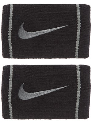 Nike Dri-Fit Striped Doublewide Wristband Black/Grey