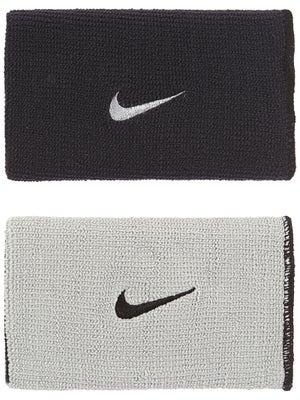 Nike Dri-Fit Home & Away Doublewide Wristband Bk/Gy