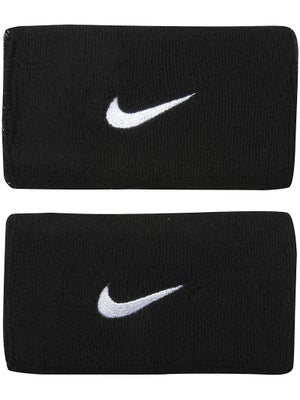 Nike Swoosh Double Wide Wristband Black/White