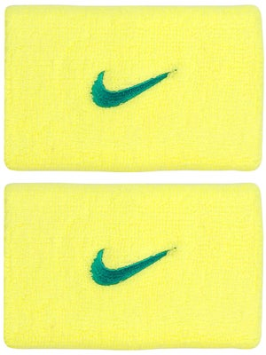 Nike Swoosh Double Wide Wristband Yellow/Teal