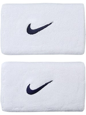 Nike Swoosh Double Wide Wristband White/Navy